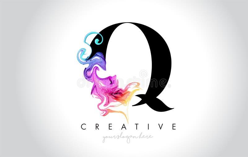 Q Leter creativo vibrante Logo Design con la tinta colorida Flo del humo libre illustration