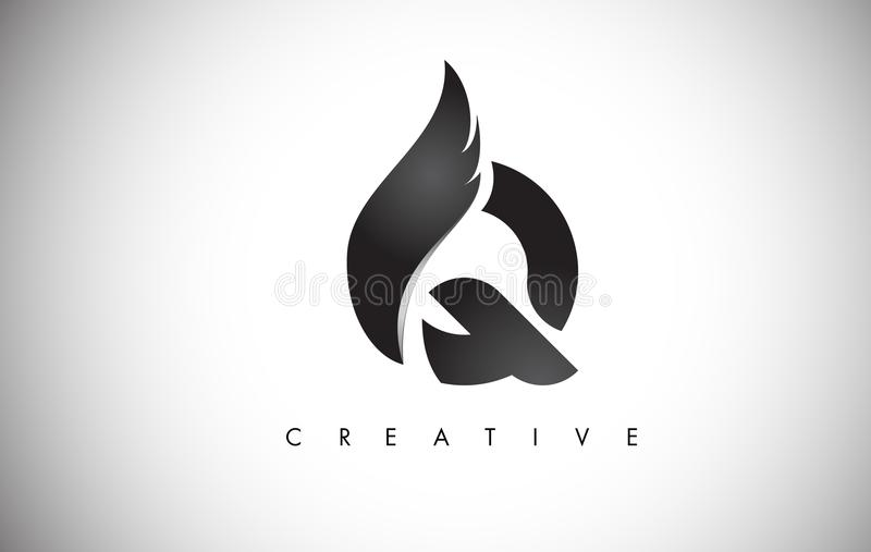 Q Letter Wings Logo Design with Black Bird Fly Wing Icon. vector illustration