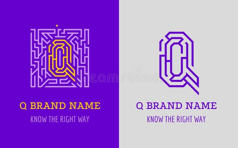 Q listu logo labirynt Kreatywnie logo dla korporacyjnej tożsamości firma: listowy Q Logo symbolizuje labitynt, wybór prawa ścieżk royalty ilustracja