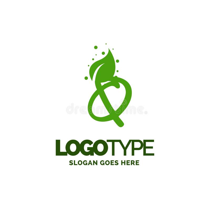 Q logo with Leaf Element. Nature Leaf logo designs, Simple leaf. Logo symbol. Natural, eco food. Organic food badges in vector. Vector logos. Natural logos with royalty free illustration