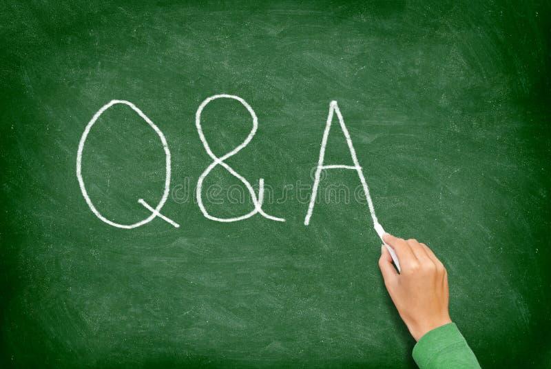 Q och A - fråge- och svarsbegreppssvart tavla arkivbilder