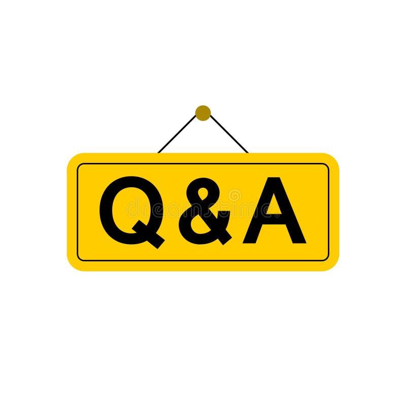Q&A oder Fragen und Antworten unterzeichnen oder Ikone stock abbildung