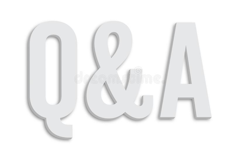 Q&A Questions and Answers text minimalist white grey color 3D word shape and isolated on simple minimal white clean background. Q&A Questions and Answers text in stock illustration