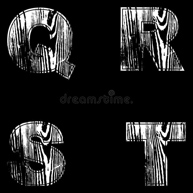 Q, R, S, T, rotula o branco em um fundo preto Cinzeladura natural de madeira do projeto… da madeira Vetor ilustração do vetor