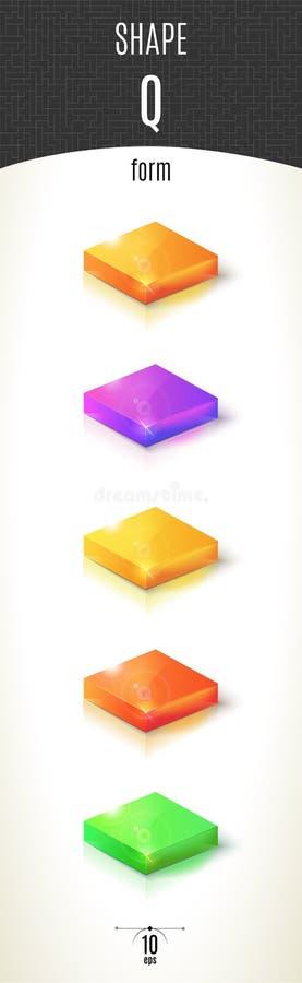 Q-vorm glanzend 3D-deel op witte die achtergrond in verschillende kleuren wordt geplaatst royalty-vrije stock afbeelding