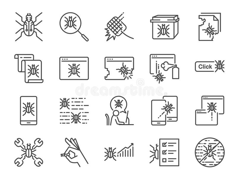 QA and Bug fix icon set. Included icons as bug report, computer virus, spyware, quarantine, quality assurance, Test Case and more. vector illustration