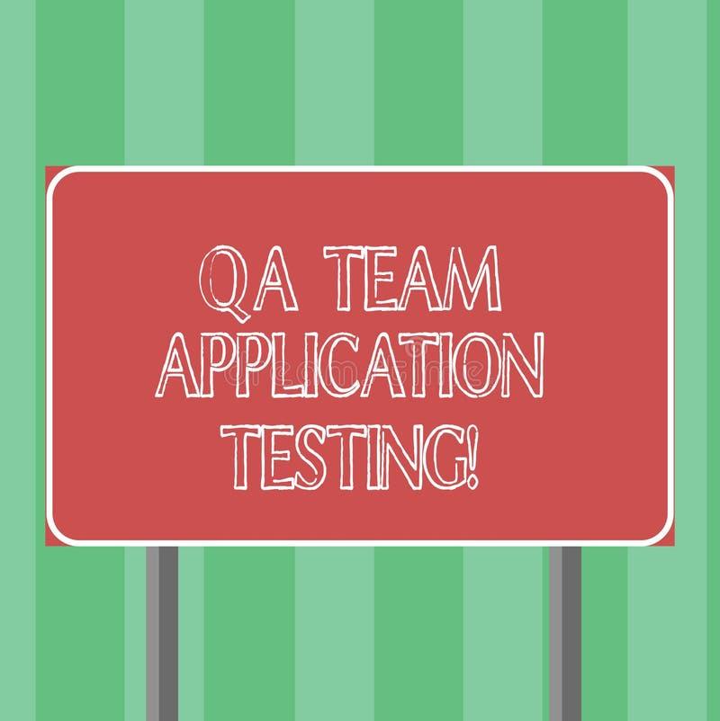 QA Team Application Testing des textes d'écriture Question et réponse de signification de concept faisant le blanc d'essai de log illustration libre de droits