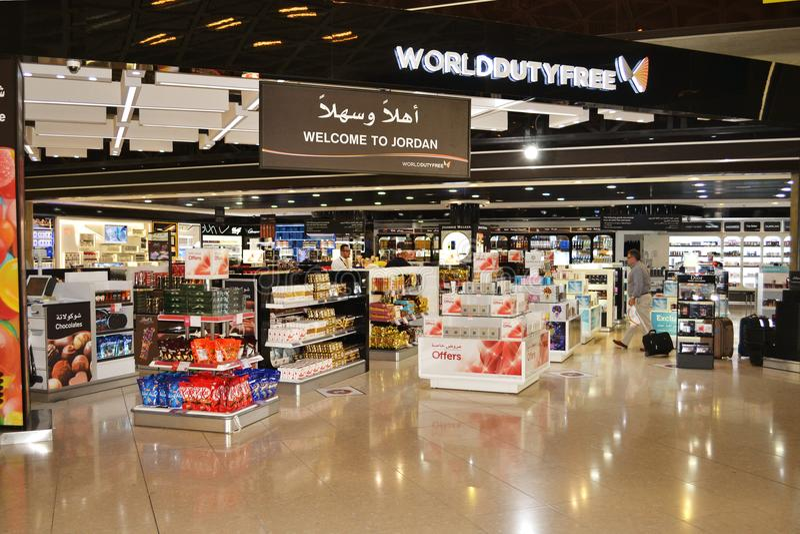 QAIA duty free. Queen Alia International Airport duty free area in Amman Jordan stock image