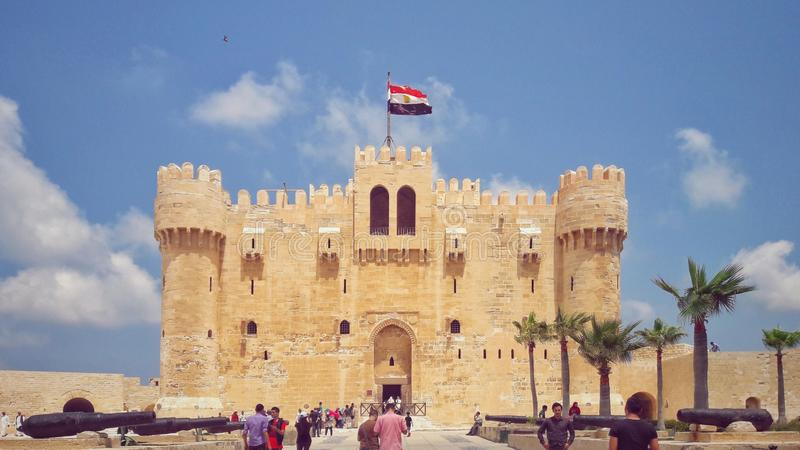 Qaitbay城堡的射击 免版税图库摄影