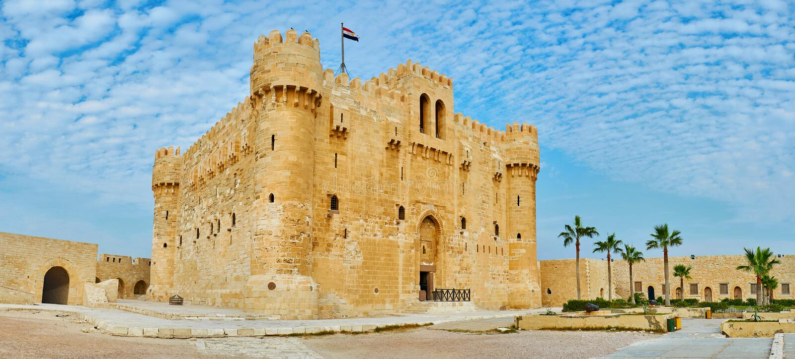 Discover medieval citadel of Alexandria, Egypt. The Qaitbay Fort is the famous historic landmark and fine example of medieval architecture, Alexandria, Egypt stock images