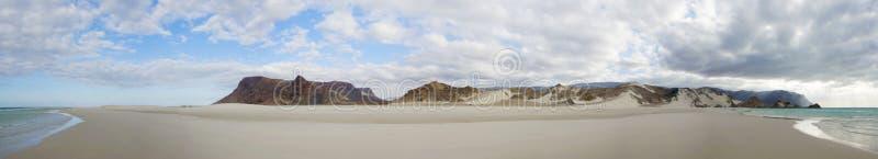 Qalansia海滩,索科特拉岛,也门全景  免版税库存照片