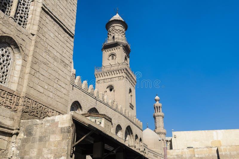 Qalawun complex, Al-Muizz Street, islamic Cairo, Egypt stock images