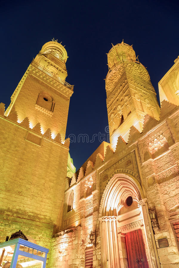 Qalawun complex,El Moez street at night. Its one of the most amazing streets in Islamic Cairo. El-Moez Street is one of the oldest streets in Cairo stock images