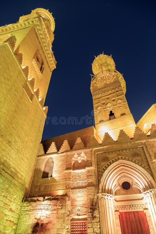 Qalawun complex,El Moez street at night. Its one of the most amazing streets in Islamic Cairo. El-Moez Street is one of the oldest streets in Cairo royalty free stock photography