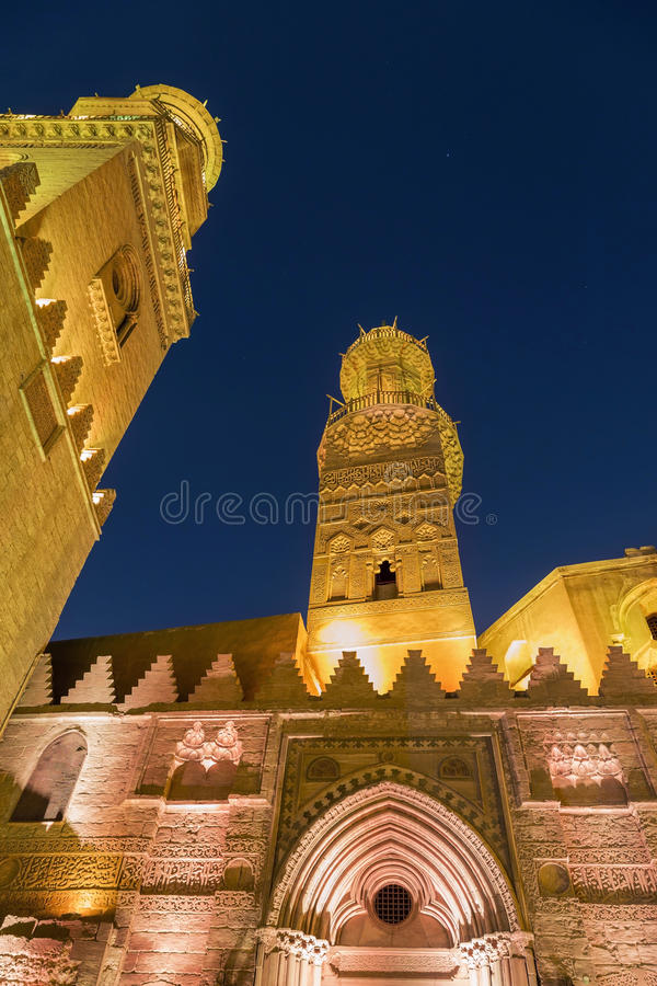 Qalawun complex,El Moez street at night. Its one of the most amazing streets in Islamic Cairo. El-Moez Street is one of the oldest streets in Cairo stock photography