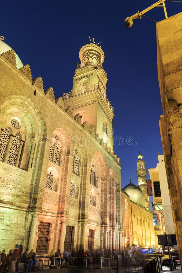 Qalawun complex,El Moez street at night. Its one of the most amazing streets in Islamic Cairo. El-Moez Street is one of the oldest streets in Cairo stock photos