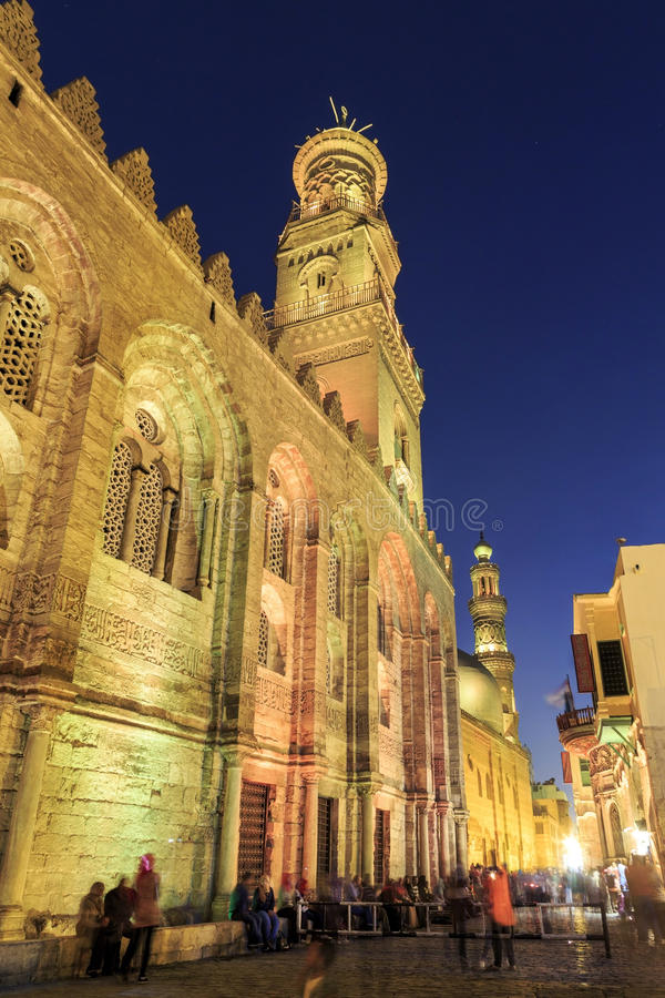 Qalawun complex,El Moez street at night. Its one of the most amazing streets in Islamic Cairo. El-Moez Street is one of the oldest streets in Cairo stock image
