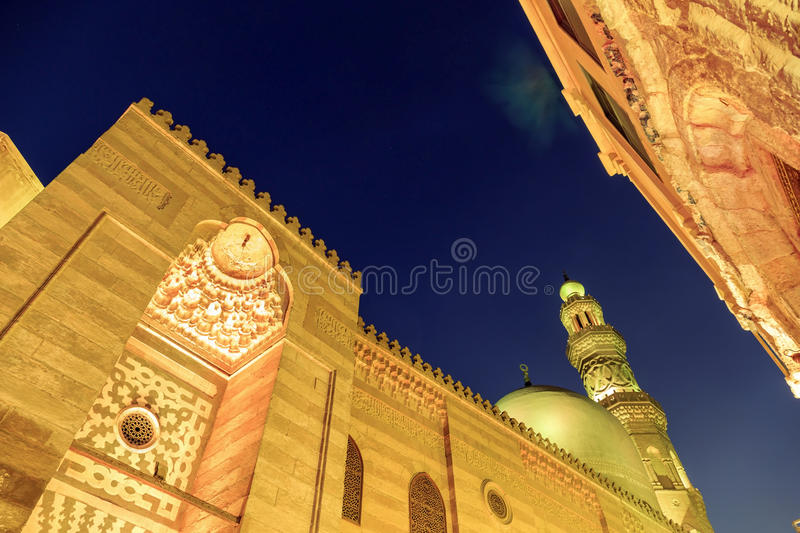 Qalawun complex,El Moez street at night. The most amazing streets in Islamic Cairo. El-Moez Street is one of the oldest streets in Cairo stock photography