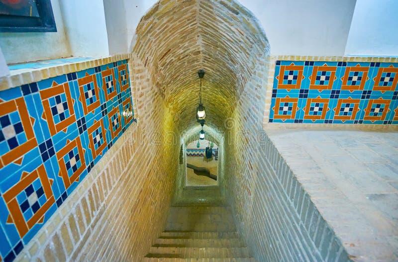 Qanat dobrze Tehraniha dom, Yazd, Iran obraz royalty free