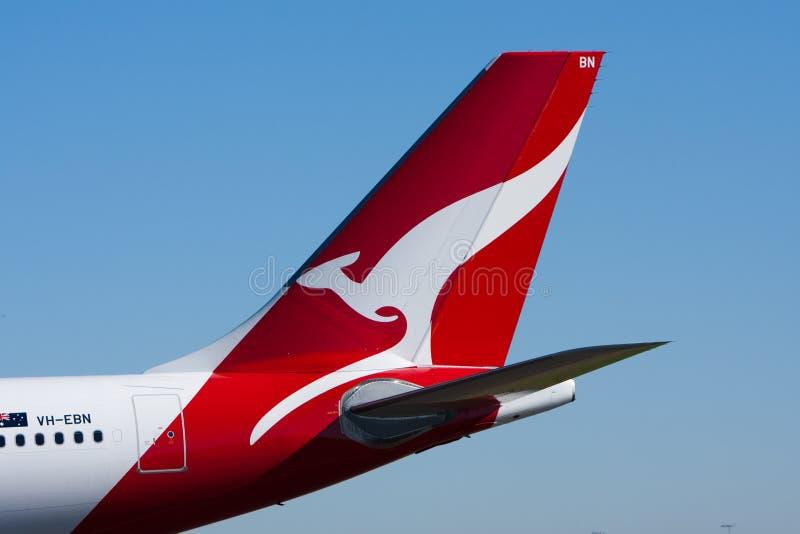 qantas логоса кенгуруа двигателя авиакомпаний стоковое изображение