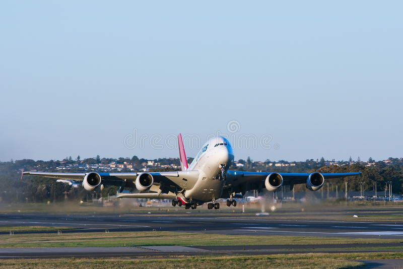 Qantas Airbus A380 Airliner Taking Off Editorial Photo