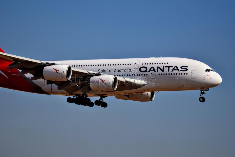 Qantas Airlines Airbus A380 coming in for a landing. December 5th, 2018, Qantas Airlines Airbus A380 the world`s largest passenger airliner coming in for a stock photo