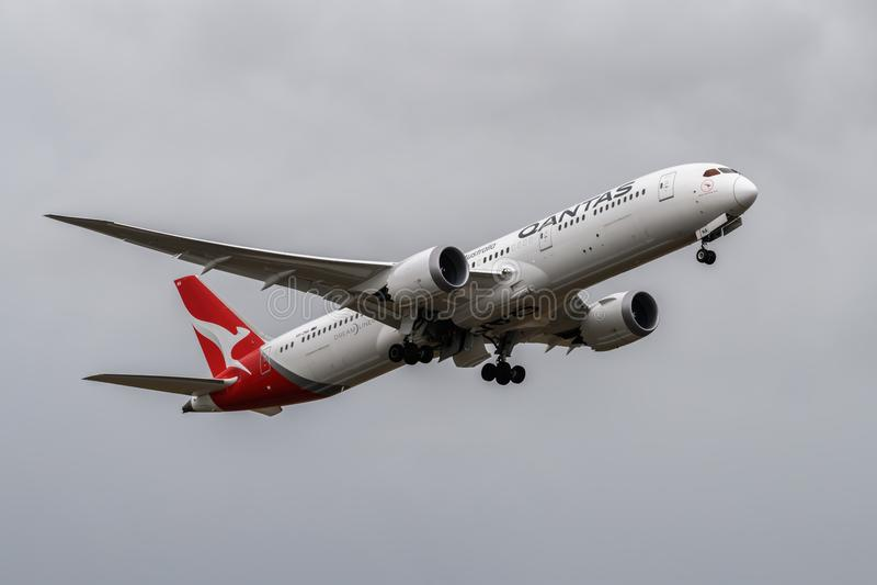 Qantas Airlines Boeing 787 Dreamliner departing. Heathrow Airport, London, England on August 16 2018. Qantas Airlines Boeing 787 Dreamliner departing stock photography
