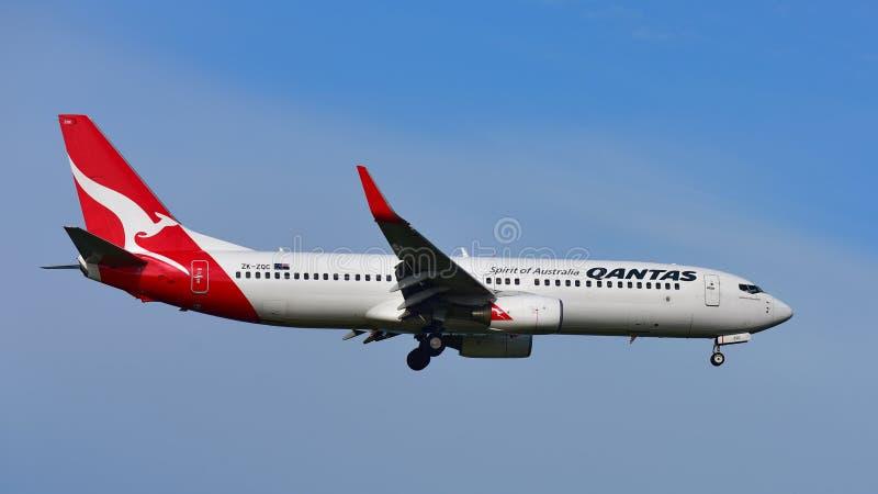 Qantas Airways Boeing 737 débarquant à l'aéroport international d'Auckland photos libres de droits