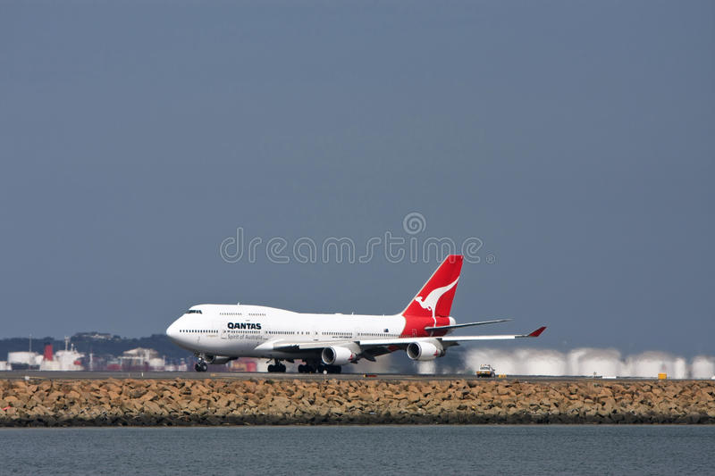 Qantas Boeing 747 Airliner  On The Runway Editorial Image