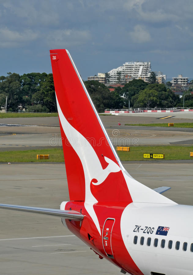 Qantas Plane Tail & Logo at Sydney International Airport stock image
