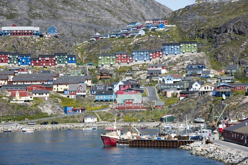 Qaqortoq, Greenland. Colorful houses of Qaqortoq, Greenland royalty free stock images