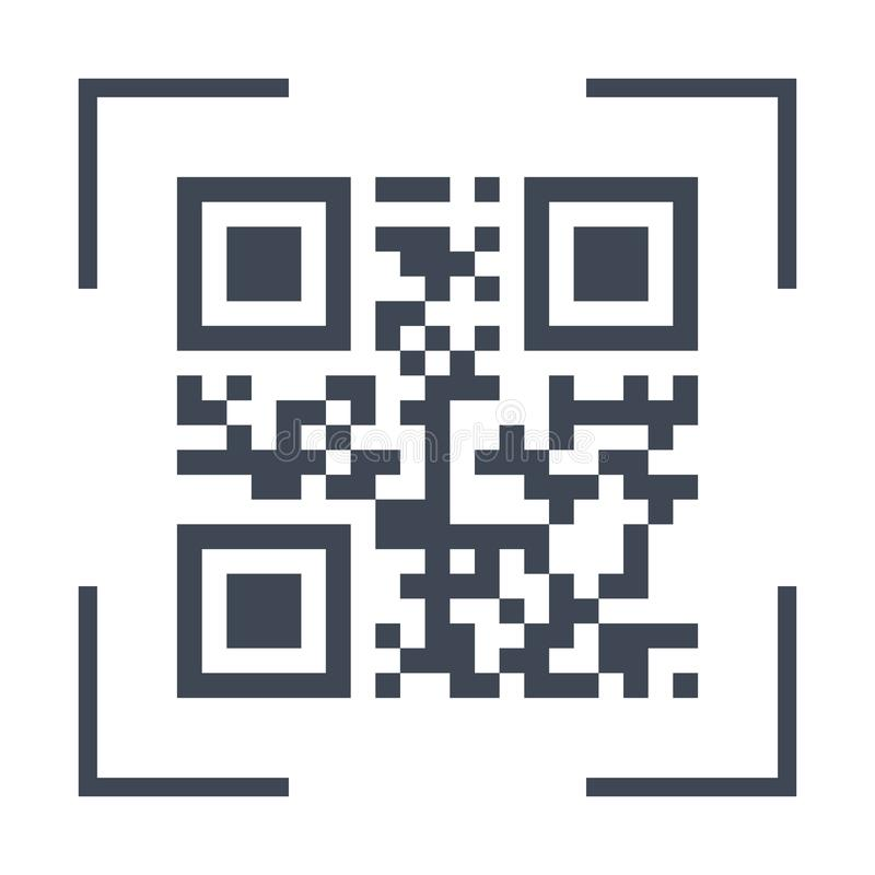 Qarcode preto de varredura no ícone da tela do telefone, elemento liso simples da relação do projeto para o ux do ui do app, rela ilustração stock