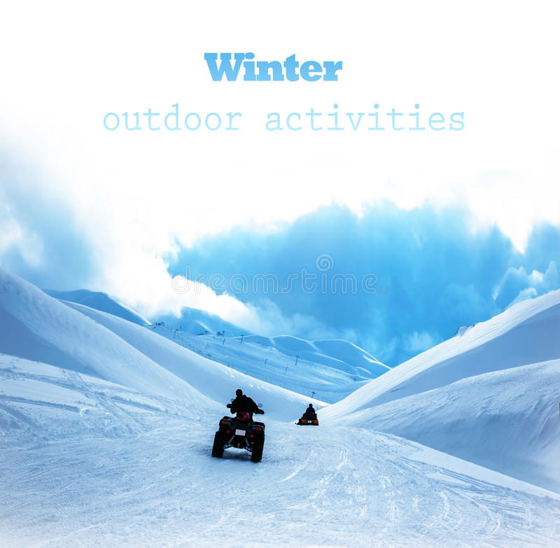Qard bike in snowy mountains. Image of ATV in snowy mountains, active lifestyle, motocross entertainment, dangerous winter sport, motorbike race competition stock image