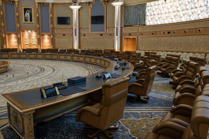 Qasr Al Watan, Palácio Presidencial dos Emirados Árabes Unidos, Abu Dhabi Sala de conferências fotos de stock