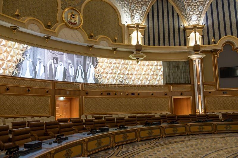 Qasr Al Watan, Palácio Presidencial dos Emirados Árabes Unidos, Abu Dhabi Sala de conferências imagem de stock