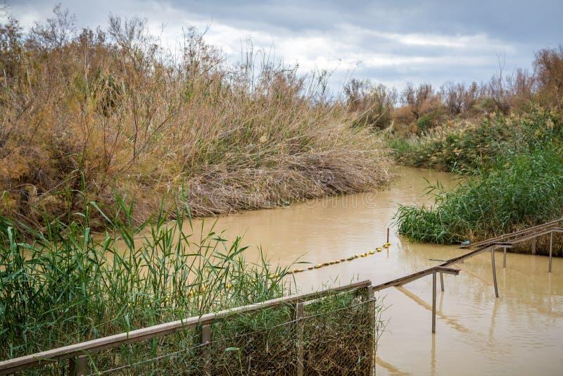 Qasr el Yahud,洗礼站点,约旦河在以色列 图库摄影