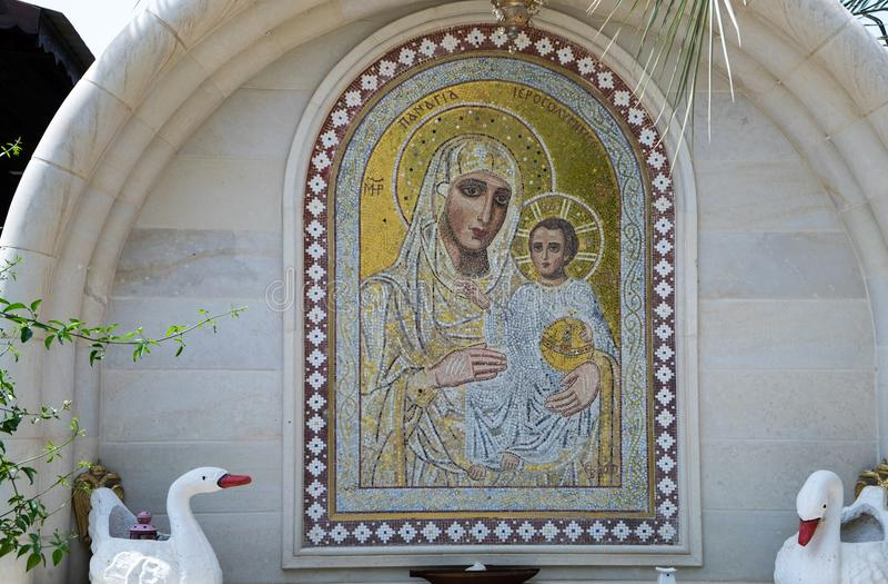Mosaic of Mother of God in Monastery of St Gerasimus. QASR EL YAHUD, ISRAEL - APRIL 8 , 2017: mosaic of Mother of God in Monastery of St Gerasimus royalty free stock image