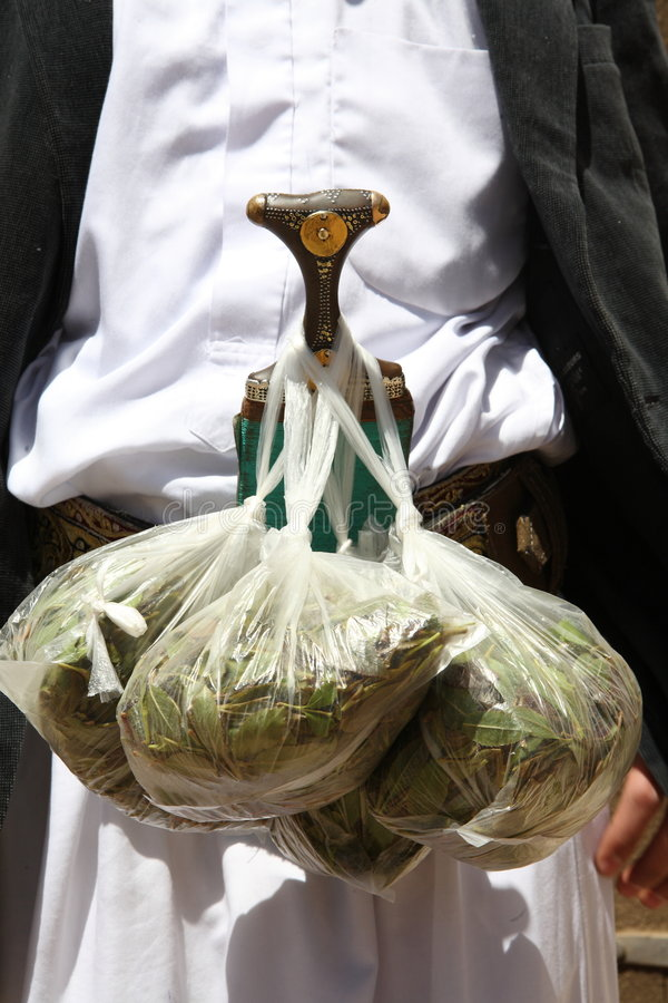Qat for sale. Qat - amphetamine-like stimulant and alkaloid, causes excitement and euphoria. Widely sold in Yemen and Somalia stock image