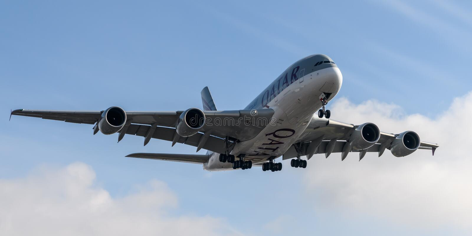Qatar Airlines Airbus A380 landing stock photo