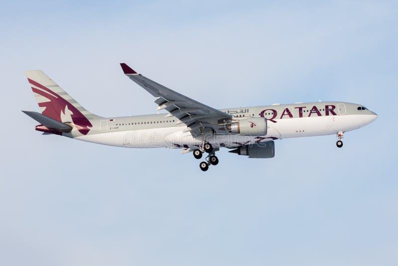 Qatar Airways Airbus A330-200 A7-ACB passenger plane landing at Frankfurt Airport stock image