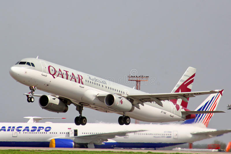 Qatar Airways Airbus A321. MOSCOW, RUSSIA - MAY 10, 2013: Qatar Airways Airbus A321 takes off Domodedovo International Airport stock image