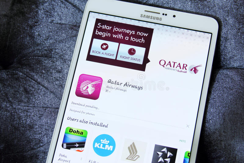 Qatar Airways APP photo stock