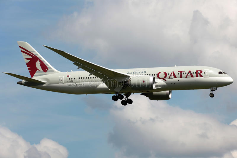 Qatar Airways Boeing 787 Dreamliner image stock