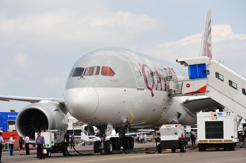Qatar Airways Boeing 787 Dreamliner sur l'affichage à Singapour Airshow photos libres de droits