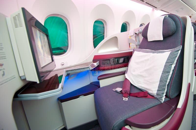 Qatar Airways Business Class at Singapore Airshow 2014 stock photos