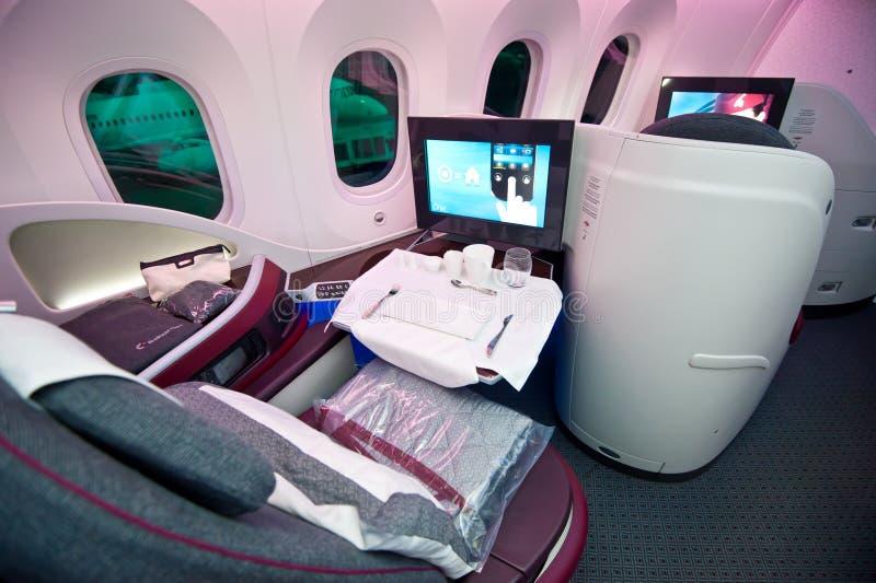 Qatar Airways Business Class at Singapore Airshow 2014 stock image