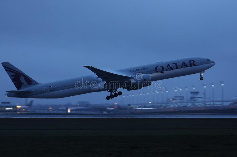 Qatar Airways Plane taking off from Munich Airport, MUC. Germany stock images