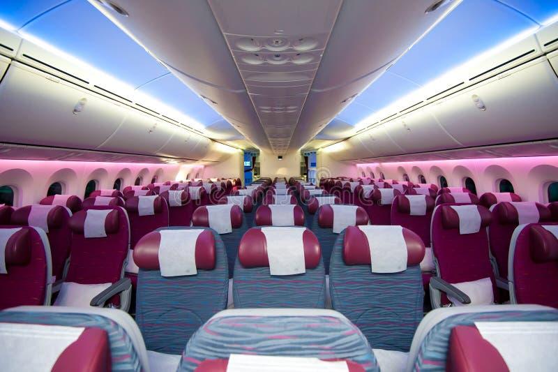 Qatar Airways Uit de toeristenklasse in Singapore Airshow 2014 royalty-vrije stock fotografie