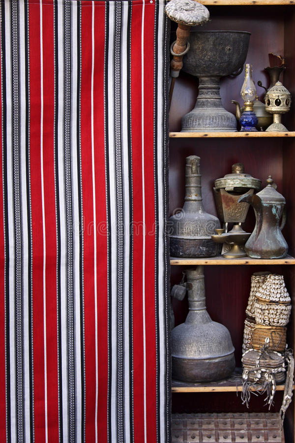 Qatar: Antique sold in a souq. Typical arabic handicrafts sold in a souq Waqif in Doha, Qatar stock photos