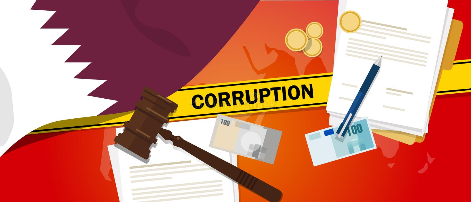 Qatar corruption money bribery financial law contract police line for a case scandal government official. Vector vector illustration